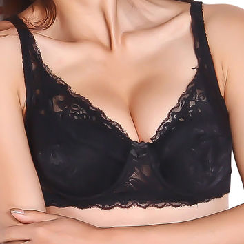 Women Underwear 3/4 Cup Lace Push Up Bra Deep V Bralette Underwire Brassiere