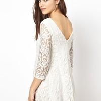 John Zack Lace Swing Dress With Deep V Back