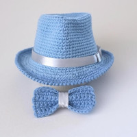 Baby Blue Fedora Hat and Bow Tie Set Newborn Photo Prop Baby Boy Shower Gift Infant Cotton Hat Crochet Fedora Cute Hats from Mila