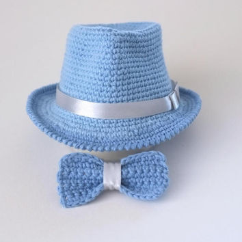 bc37aa4270c Baby Blue Fedora Hat and Bow Tie Set Newborn Photo Prop Baby Boy Shower  Gift Infant