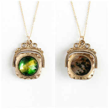 Antique Double Sided Spinner Fob Pendant Necklace - Victorian 1890s Moss Agate Gem & Green Yellow Bi-Color Vauxhall Glass Stone Jewelry