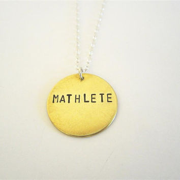 MATHLETE necklace, hand stamped math geek necklace,  nerd jewelry