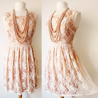 NEW Forever 21 Cream/Peach Floral Lace Overlay Elegant Pleated Skirt Party Dress