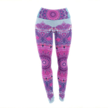 "Iris Lehnhardt ""Grunge Mandala"" Purple Blue Yoga Leggings"