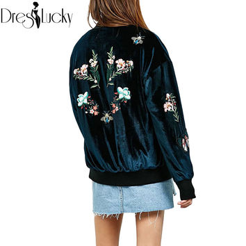 Winter Elegant velvet flowers embroidery women basic coats fashion bomber jacket 2016 casual padded chic souvenir jacket outwear
