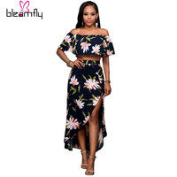 Two Piece set Maxi Long Dress Summer Bodycon Sexy  Floral Print Off Shoulder Club Wear Party Dresses High Split Elegant Women