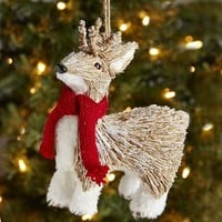 Natural Deer with Scarf Ornament