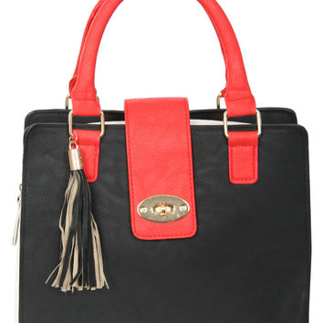 Adeline Colour Block Stuctured Bag in Red