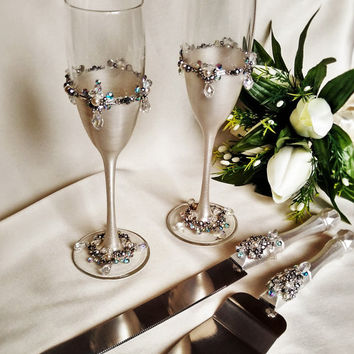 Free Shipping Wedding Silver Gles And Cake Server Set Knife Bride Groom