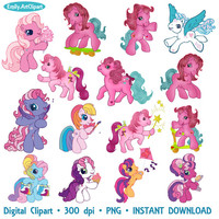 My Little Pony Clipart Party Holiday Little Pony Clip Art Set Digital Invitations Printable Clipart Graphic 300 dpi PNG INSTANT DOWNLOAD