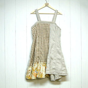 M/L Funky Shabby Chic Jumper Dress, Upcycled Clothing, Lagenlook, Mori Girl, Eco Earth Friendly, Anthropologie Inspired