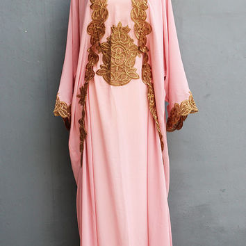 Light Pink Caftan Dress With Fancy Gold Embroidery Great for Wedding Bridesmaid Party Summer Kaftan Maxi Dress