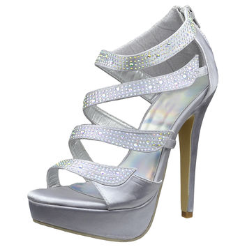 Womens Dress Sandals Strappy Wrap Rhinestones Back Zipper Closure Silver SZ 5