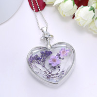 Charm Delicate Heart Floating Natural Dried Flower Plant Specimen Crystal Glass Necklace Women Accessories