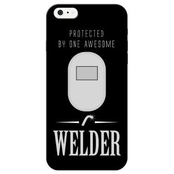 """Protected by one awesome Welder"" Plastic Phone Case"