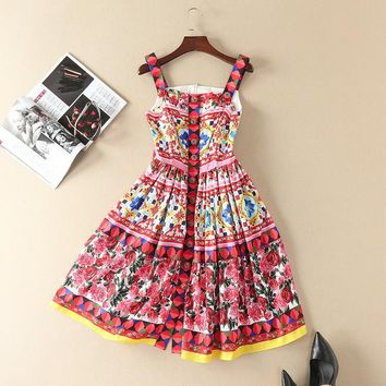 New spring summer runway brand rose patterns print women casual dress spaghetti strap cute buttons fit and flare dresses