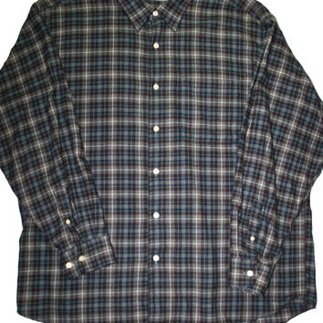 Vintage LL Bean Plaid Flannel Shirt Mens Size Large