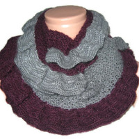 Loop Scarf,  purple and gray colors, hand-knit scarf, long shawl.