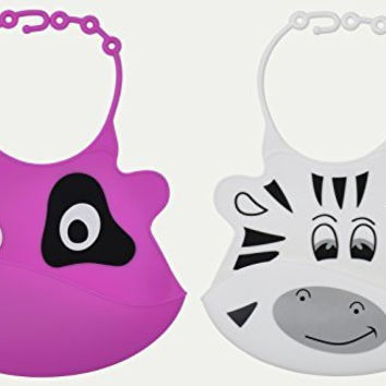 Cute Funny Baby Bibs with Food Pocket From Jamika Products - Baby Bib Feeding Set - Waterproof Washable Scentless Silicone Plastic