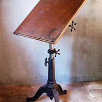 Vintage Industrial Drafting Table with Cast Iron by urbANDustrial