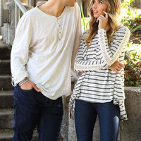 Crochet Striped Henley Knit Top - LoveCulture