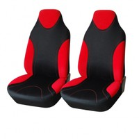 Adeco 2-Piece Car Vehicle Protective Seat Covers, Universal Fit, Black/Red