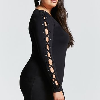 Plus Size Lace Up Sleeve Dress