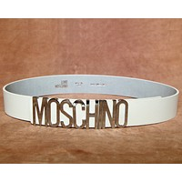 MOSCHINO New Fashion Trendy Wild Women's Litchi Belt F0269-1 Silver buckle white belt