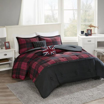 Better Homes and Gardens Buttoned Plaid 5 Piece Comforter Set, Full/Queen