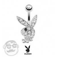 14 Gauge Playboy Bunny Belly Button Ring | UrbanBodyJewelry.com