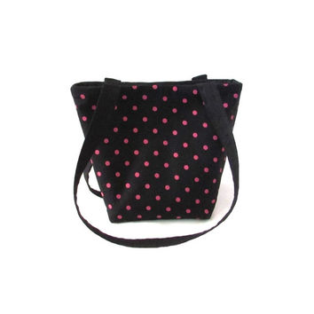 Black Purse, Polka Dot Purse, Small Fabric Bag,  Pink Polka Dots, Handmade Handbag, Teen Purse, Cloth Purse