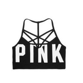 Victoria's secret Pink Women's yoga fitness stretching movement seamless outside cross sports bra F Black