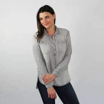 Gray Vintage Washed Buttondown Popover Shirt