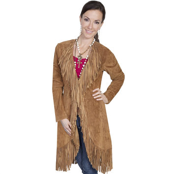 Scully Womens Cinnamon Boar Suede Fringe Maxi Coat