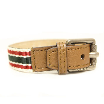 Gucci Traditional Green/Red Web Unisex Buckle Bracelet, Brown Leather