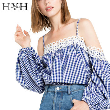 HYH HAOYIHUI Sexy Off Shoulder Women Tops Blue Plaid Slash Neck Cut Out Streetwear T-shirt Casual Elegant Spaghetti Strap Tees