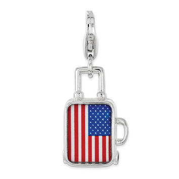 Sterling Silver Enameled American Flag Suitcase Lobster Clasp Charm QCC1198