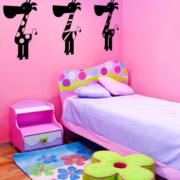 Vinyl Wall Decal Sticker Patterned Giraffes #OS_MG328