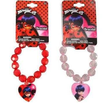 Miraculous LadyBug Faceted Beaded Bracelet with Plastic Charm 2 Asstd.