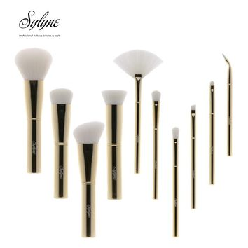 Sylyne 10pcs makeup brush set high quality full professional makeup brushes metal Gold handle soft make up brushes kit tools.