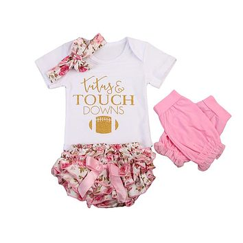 "4PC ""Tutus and Touchdowns"" Outfit Matching Headband and Leg Warmers Great For Football Games"