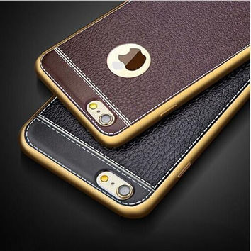 Imitation leather TPU Soft Phone Cases For iPhone 5 5S 6 6S 7 7S Plus Men case Protect Covers with OPP Package