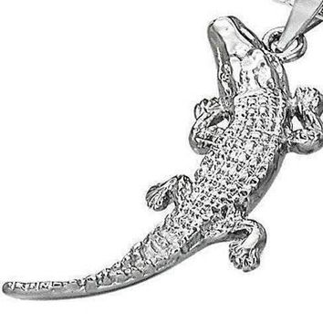 Chomp Chomp Stainless Steel Alligator Pendant Necklace