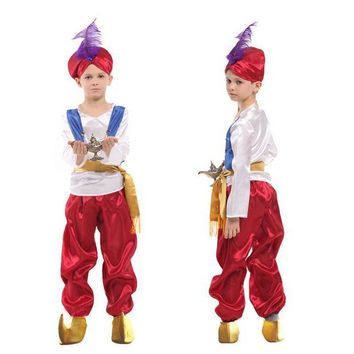 VONE05O Disfraces Children Halloween Carnival kids Aladdin lamp Cosplay Movie Anime Adam prince Fantasia Boy Party Arab Clothing Costume