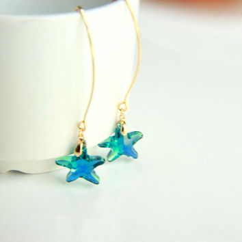 Earrings: Gold plated brass earring hooks with blue star swarovski crystal, earrings hooks gift for  wedding valentine's mother's day dangle
