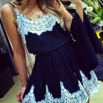 Dark Blue Spaghetti Strap Mini Dress with Lace