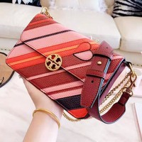 Tory Burch Fashion Women Leather Rainbow Stripe Crossbody Satchel Shoulder Bag