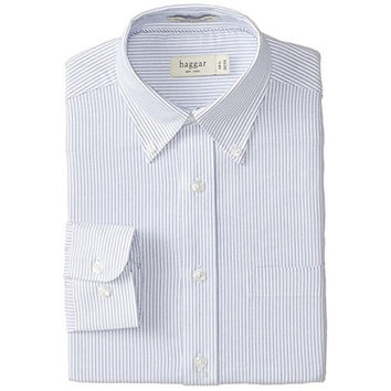 Haggar Mens Poplin Striped Dress Shirt