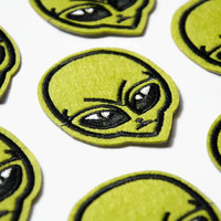 Green Alien Patches - Retro Alien Head - Small Patch - Sew on Patch - Martian Patch - Space Embroidered Patch - Aliens Badge Applique Space