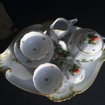 Herend Hand Painted Rothschild Bird Tea Set for 2